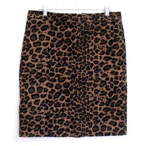 Talbots brown leopard cheetah print midi skirt